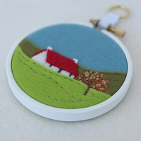"Hand-embroidered Autumn Landscape with Cottage (Red Roof) Textile Art in 3"" Hoop"