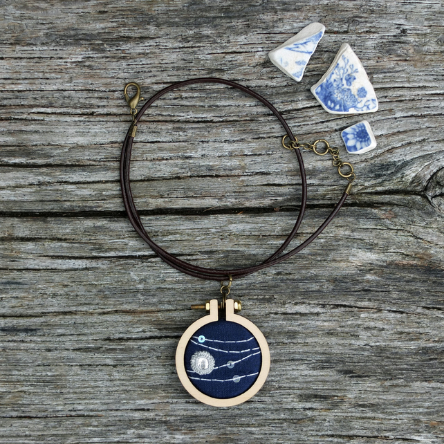 Perseids IV Night Sky Pendant . Hand Embroidery on Silk . Meteors . Moon