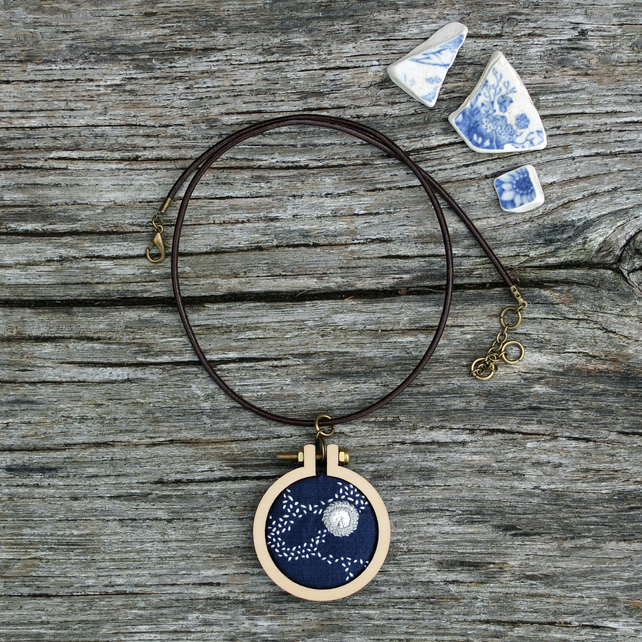 Perseids III Night Sky Pendant . Hand Embroidery on Silk . Comets . Milky Way