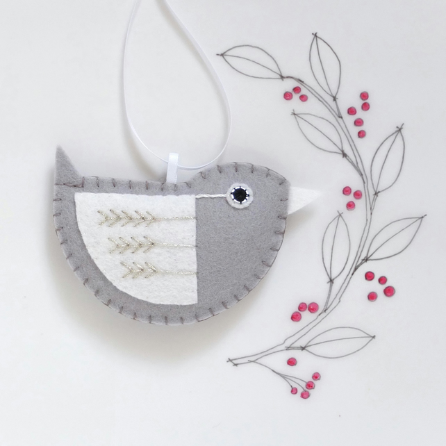 Little Bird Hanging Decoration Silver and White Fly-stitch Facing Right