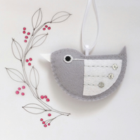 Little Bird Hanging Decoration Silver and White Sequins Facing Left