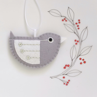 Little Bird Hanging Decoration Silver and White Sequins Facing Right