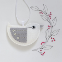 Little Bird Hanging Decoration Christmas White and Silver Sequins Facing Right