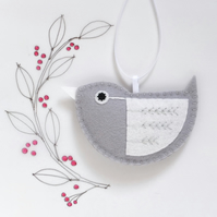 Little Bird Hanging Decoration Silver and White Fly-Stitch Facing Left