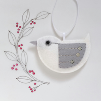 Little Bird Hanging Decoration White and Silver Sequins Facing Left