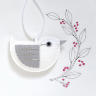 Little Bird Hanging Decoration White and Silver FlyStitch Facing Right