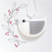 Little Bird Hanging Decoration White and Silver Fly-Stitch Facing Left