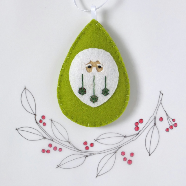 Santa Claus Father Christmas Tree Decoration Green Sequin