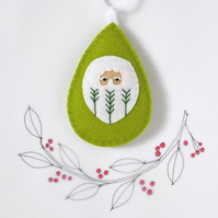 Santa Claus Father Christmas Tree Decoration Green Fly-Stitch