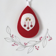 Santa Claus Father Christmas Tree Decoration Red Sequin