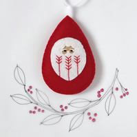 Santa Claus Father Christmas Tree Decoration Red Fly-Stitch