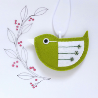 Little Bird Hanging Decoration Green and White Sequins Facing Left