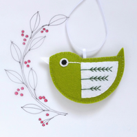 Little Bird Hanging Decoration Green and White Fly-Stitch Facing Left