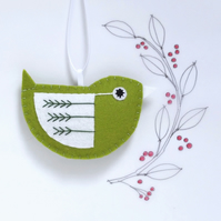 Little Bird Hanging Decoration Green and White Fly-Stitch Facing Right