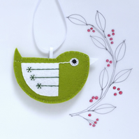 Little Bird Hanging Decoration Green and White Sequins Facing Right