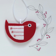 Little Bird Hanging Decoration Red and White Sequins Facing Right