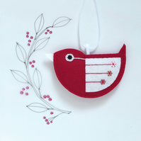 Little Bird Hanging Decoration Red and White Sequins Facing Left
