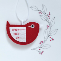 Little Bird Christmas Hanging Decoration Red and White Fly-Stitch Facing Right