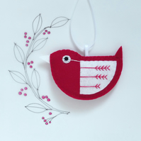 Little Bird Hanging Decoration Red and White Fly-Stitch Facing Left