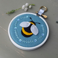 "Bumble Bee Textile Art in 3"" Embroidery Hoop (Storm Blue)"
