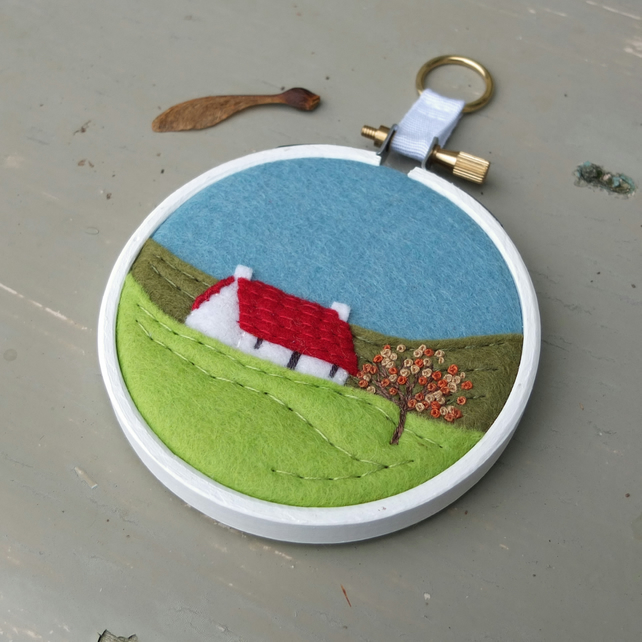 "Autumn Landscape Cottage Textile Art Embroidery 3"" Hoop Art - FREE UK POSTAGE"