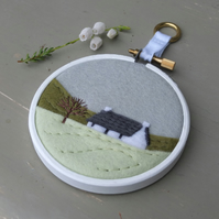 "Winter Landscape with Cottage - Embroidery - Textile Art - 3"" Hoop Art"