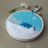 "Winter Landscape with Cottage and Tree - Textile Art - Embroidery - 3"" Hoop Art"