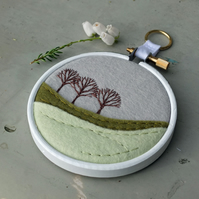 "Winter Landscape: Three Trees - Embroidery - Textile Art - 3"" Wooden Hoop Art"