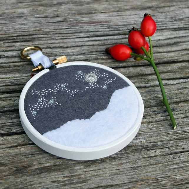 "Winter Skies II: Milky Way Textile Art - Embroidery - Hoop Art (3"" Hoop)"
