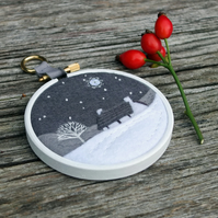 Winter Landscape with Cottage and Tree Embroidery - Hoop Art - Textile Art