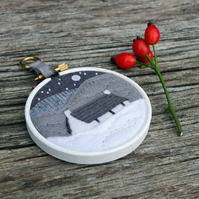 "Winter Landscape with Cottage - Embroidery - Textile Art - Hoop Art (3"" Hoop)"