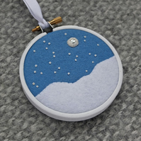 "Snowy Scene Textile Art Embroidery 3"" Hoop Art in White and Cornflower Blue"