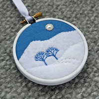 "Snowy Scene with Trees and Moon Embroidery Textile Art 3"" Hoop Art"