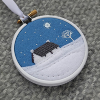 "Winter Scene with Cottage Embroidery Textile Art 3"" Hoop Art in Cornflower Blue"