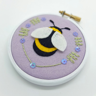"Bumble Bee Embroidery Textile Art 3"" Hoop Art in Mauve"