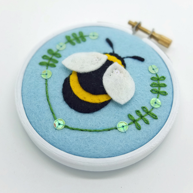 "Bumble Bee Embroidery Textile Art 3"" Hoop Art in Pale Blue FREE UK POSTAGE"