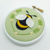 "Bumble Bee Embroidery Textile Art 3"" Hoop Art in Pistachio Green"