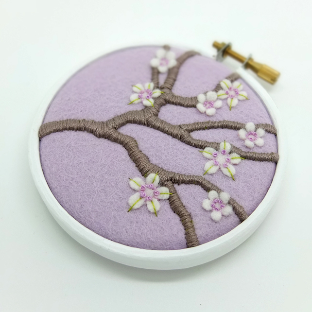 Blossom Branch (Lilac) Embroidery Textile Art Hoop Art FREE UK POSTAGE