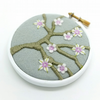 Blossom Branch Silver Grey Embroidery Textile Art Hoop Art