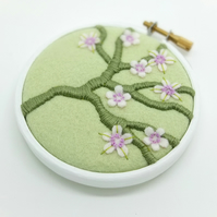 Blossom Branch Pistachio Embroidery Textile Art Hoop Art
