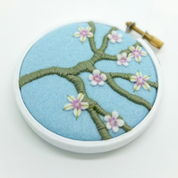 Blossom Branch Pale Blue Embroidery Textile Art Hoop Art