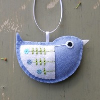 Little Bird Embroidered Hanging Decoration in Pale Blue