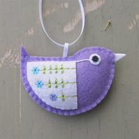 Little Bird Embroidered Hanging Decoration in Purple