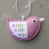 Little Bird Embroidered Hanging Decoration in Dusky Pink
