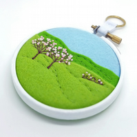 Spring Landscape Two Blossom Trees Embroidery Hoop Art Textile Art
