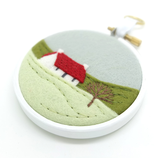Winter Landscape Cottage Red Roof Embroidery Hoop Art Textile Art