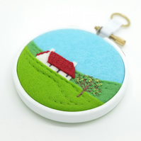 Summer Landscape with Cottage Red Roof Embroidery Hoop Art Textile Art