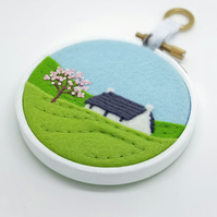 Spring Cottage Hoop Art Grey Roof Embroidery Textile Art
