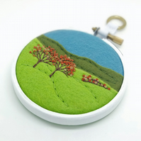 Autumn Landscape with Two Trees Embroidery Hoop Art Textile Art