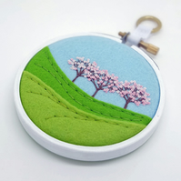 Spring Landscape with Three Trees Pink Blossom Embroidery Hoop Art Textile Art